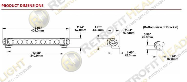 JW Speaker Single End Bracket Kit for Model TS1000 Light Bars
